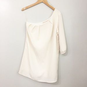 Lulu's White One Shoulder A-line Cocktail Dress S